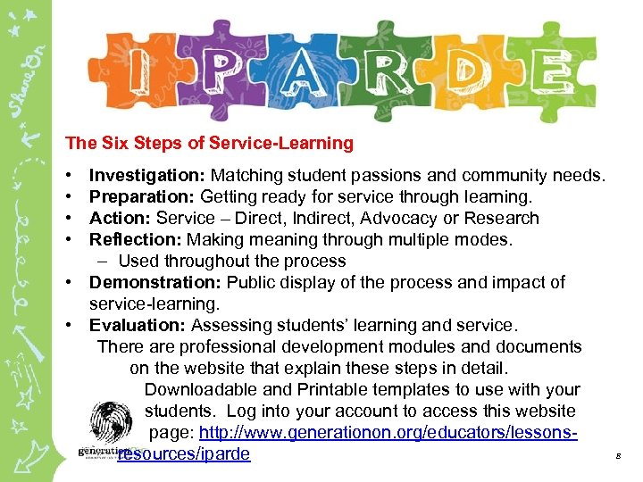 The Six Steps of Service-Learning • • Investigation: Matching student passions and community needs.
