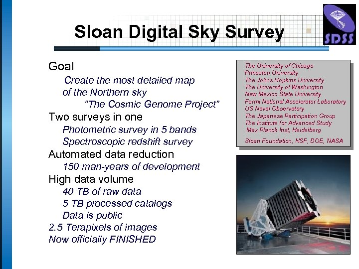 Sloan Digital Sky Survey Goal Create the most detailed map of the Northern sky