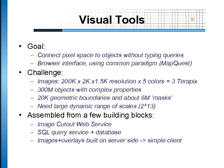Visual Tools • Goal: – Connect pixel space to objects without typing queries –
