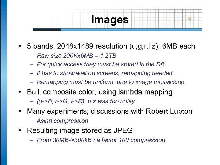 Images • 5 bands, 2048 x 1489 resolution (u, g, r, i, z), 6