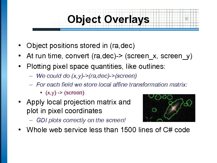 Object Overlays • Object positions stored in (ra, dec) • At run time, convert