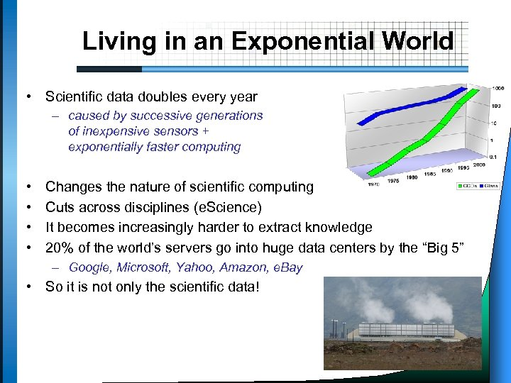 Living in an Exponential World • Scientific data doubles every year – caused by