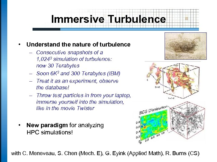 Immersive Turbulence • Understand the nature of turbulence – Consecutive snapshots of a 1,