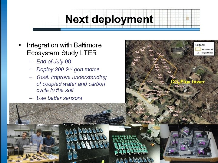 Next deployment • Integration with Baltimore Ecosystem Study LTER – End of July 08