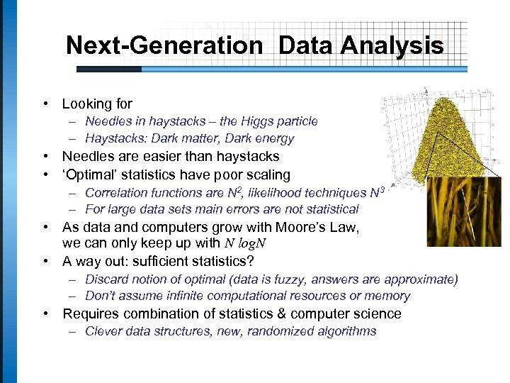 Next-Generation Data Analysis • Looking for – Needles in haystacks – the Higgs particle