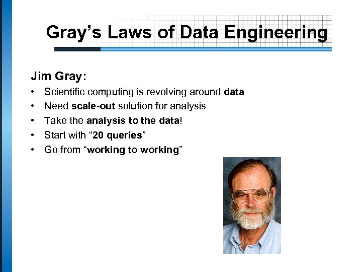 Gray's Laws of Data Engineering Jim Gray: • • • Scientific computing is revolving