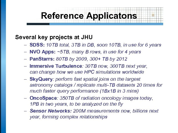 Reference Applicatons Several key projects at JHU – – SDSS: 10 TB total, 3