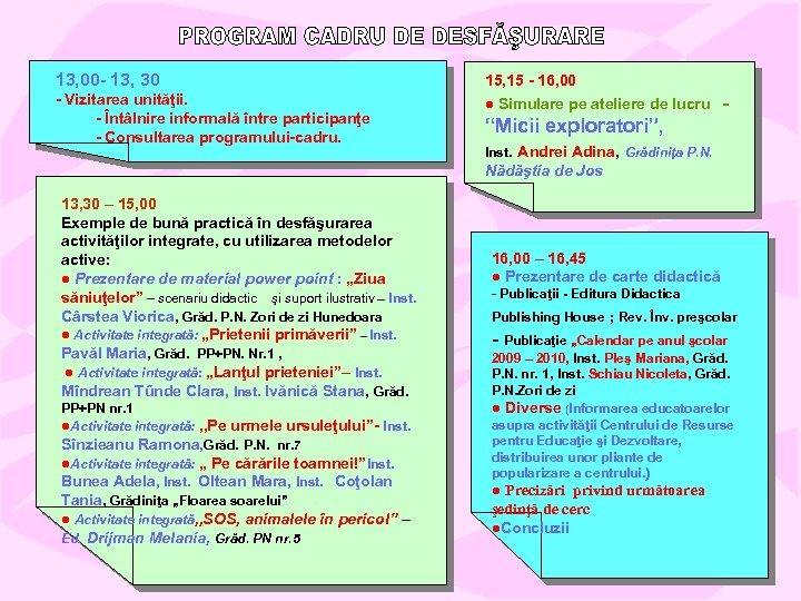 13, 00 - 13, 30 - Vizitarea unităţii. - Întâlnire informală între participanţe -