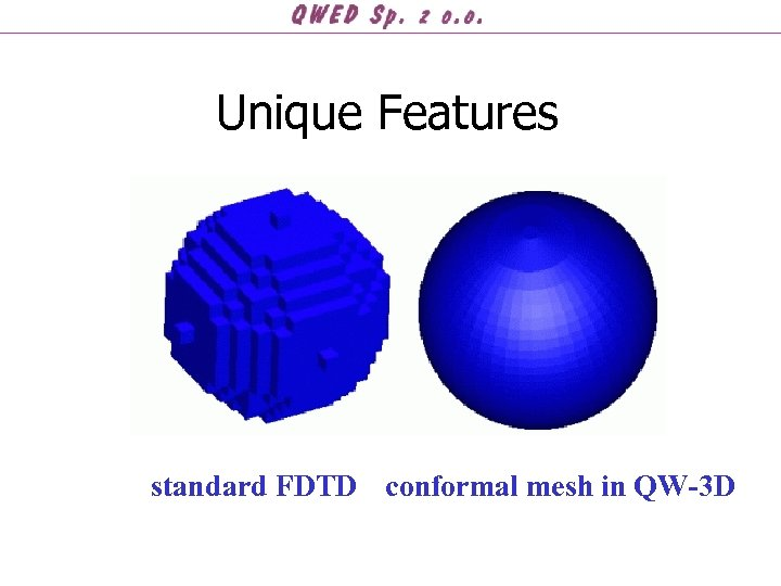 Unique Features standard FDTD conformal mesh in QW-3 D
