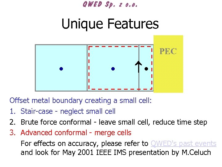Unique Features PEC Offset metal boundary creating a small cell: 1. Stair-case - neglect