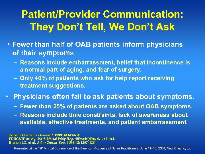 Patient/Provider Communication: They Don't Tell, We Don't Ask • Fewer than half of OAB