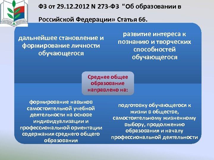 ФЗ от 29. 12. 2012 N 273 -ФЗ