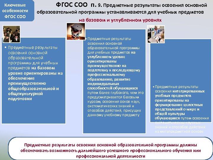 Ключевые особенности ФГОС СОО ФГОС СОО п. 9. Предметные результаты освоения основной образовательной программы