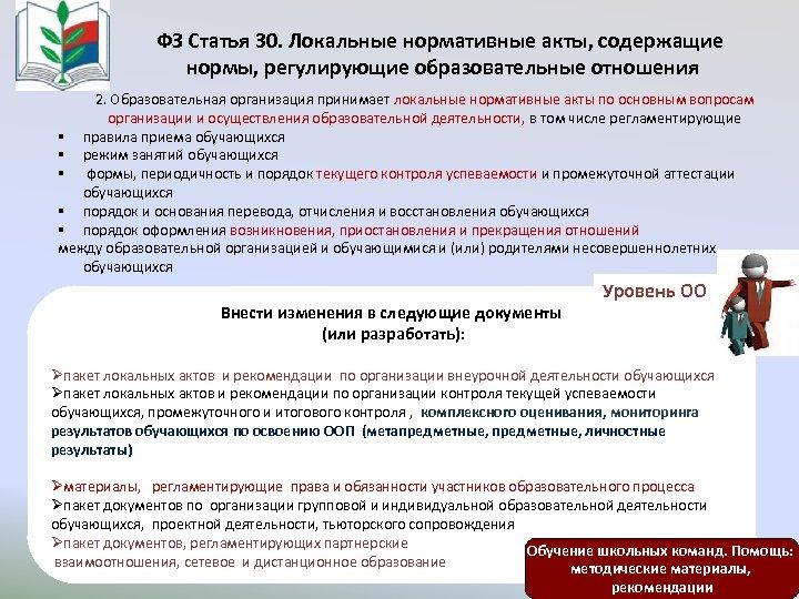 ФЗ Статья 30. Локальные нормативные акты, содержащие нормы, регулирующие образовательные отношения 2. Образовательная организация
