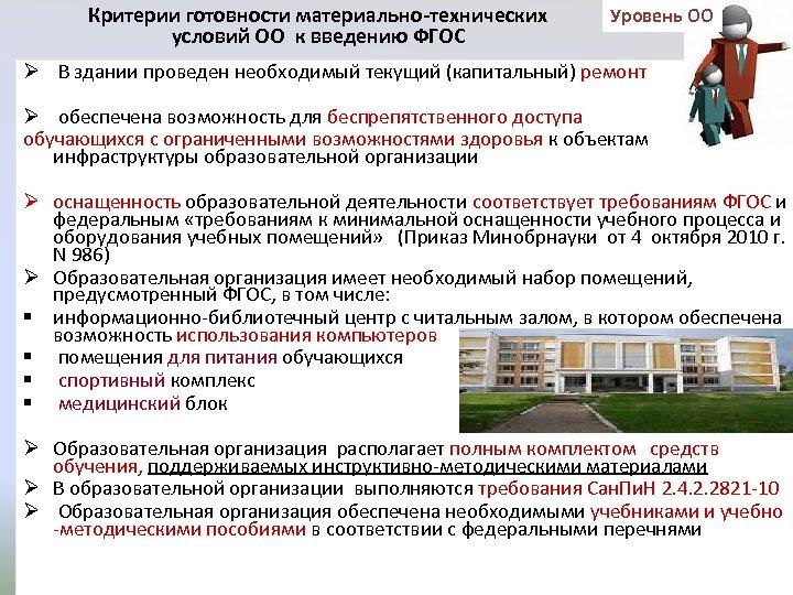 Критерии готовности материально-технических условий ОО к введению ФГОС Уровень ОО Ø В здании проведен