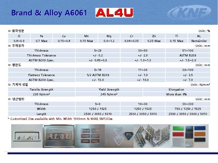 Brand & Alloy A 6061 ㅁ 화학성분 Unit : % Si Fe Cu Mn