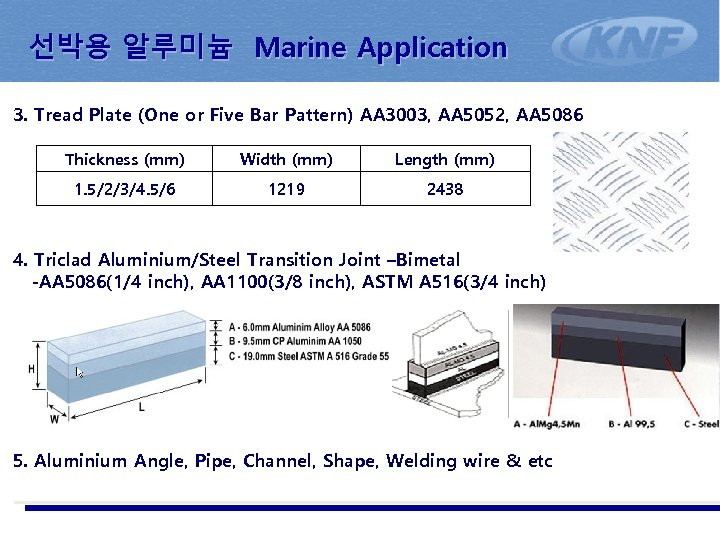 선박용 알루미늄 Marine Application 3. Tread Plate (One or Five Bar Pattern) AA 3003,