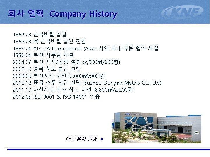 회사 연혁 Company History 1987. 03 1989. 03 1996. 04 2004. 07 2008. 10
