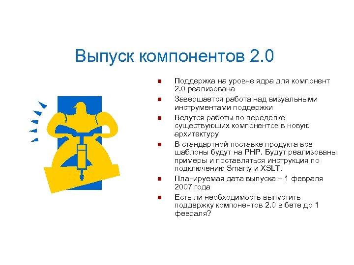 Выпуск компонентов 2. 0 Поддержка на уровне ядра для компонент 2. 0 реализована Завершается