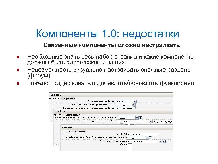 Компоненты 1. 0: недостатки Связанные компоненты сложно настраивать Необходимо знать весь набор страниц и