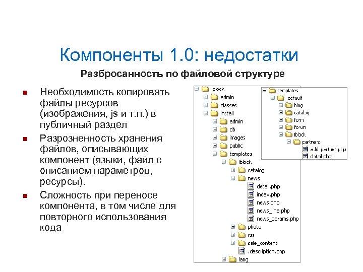 Компоненты 1. 0: недостатки Разбросанность по файловой структуре Необходимость копировать файлы ресурсов (изображения, js