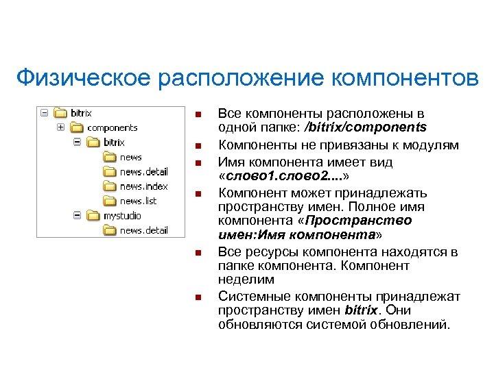 Физическое расположение компонентов Все компоненты расположены в одной папке: /bitrix/components Компоненты не привязаны к