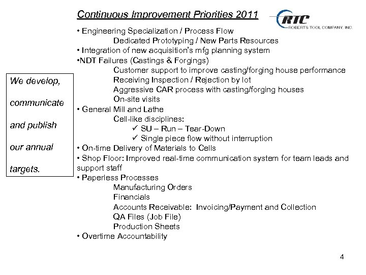 Continuous Improvement Priorities 2011 We develop, communicate and publish our annual targets. • Engineering