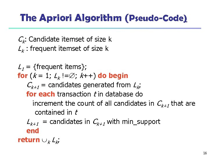 The Apriori Algorithm (Pseudo-Code) Ck: Candidate itemset of size k Lk : frequent itemset