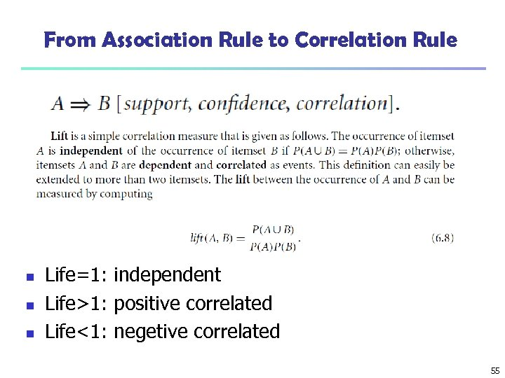 From Association Rule to Correlation Rule n n n Life=1: independent Life>1: positive correlated
