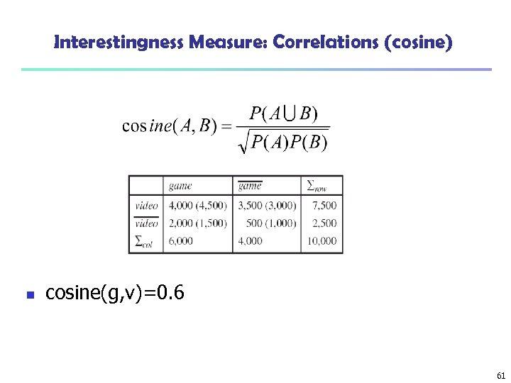 Interestingness Measure: Correlations (cosine) n cosine(g, v)=0. 6 61