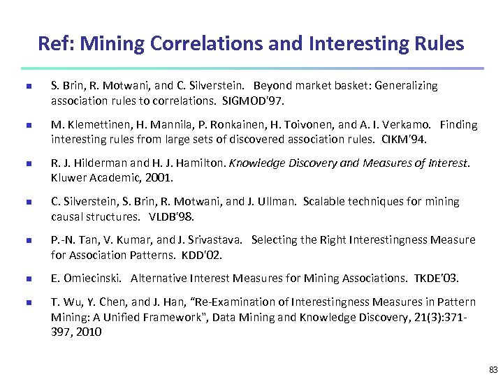 Ref: Mining Correlations and Interesting Rules n n n n S. Brin, R. Motwani,