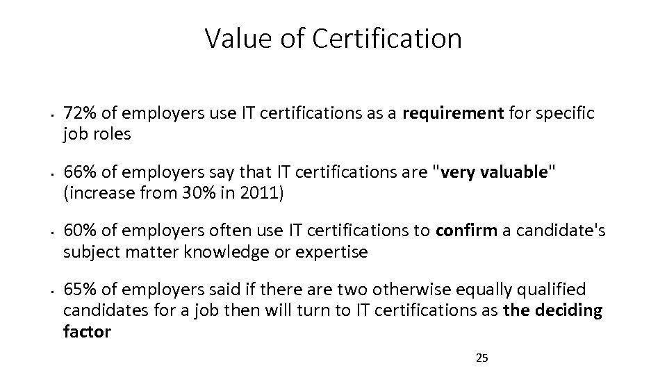 Value of Certification • • 72% of employers use IT certifications as a requirement