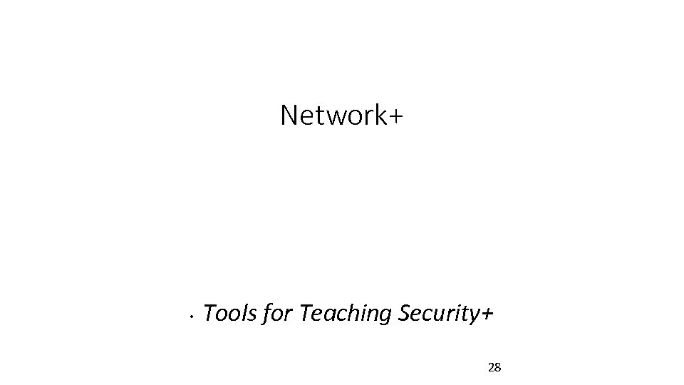 Network+ • Tools for Teaching Security+ 28