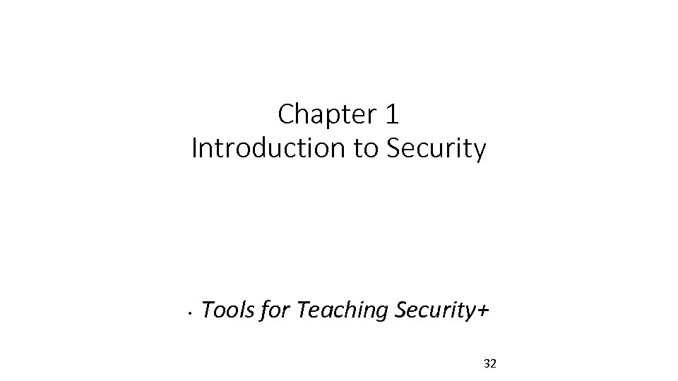 Chapter 1 Introduction to Security • Tools for Teaching Security+ 32