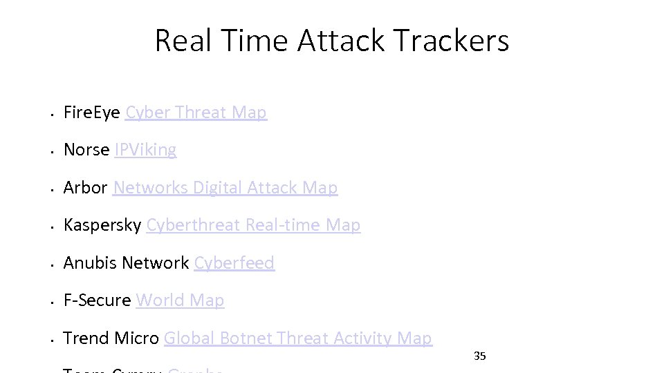 Real Time Attack Trackers • Fire. Eye Cyber Threat Map • Norse IPViking •