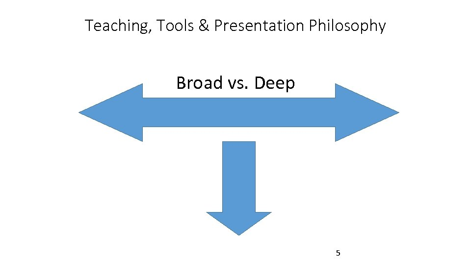 Teaching, Tools & Presentation Philosophy Broad vs. Deep 5