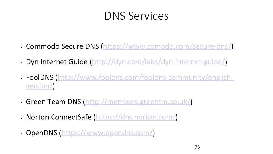 DNS Services • Commodo Secure DNS (https: //www. comodo. com/secure-dns/) • Dyn Internet Guide