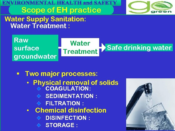 ENVIRONMENTAL HEALTH and SAFETY Scope of EH practice Water Supply Sanitation: Water Treatment :