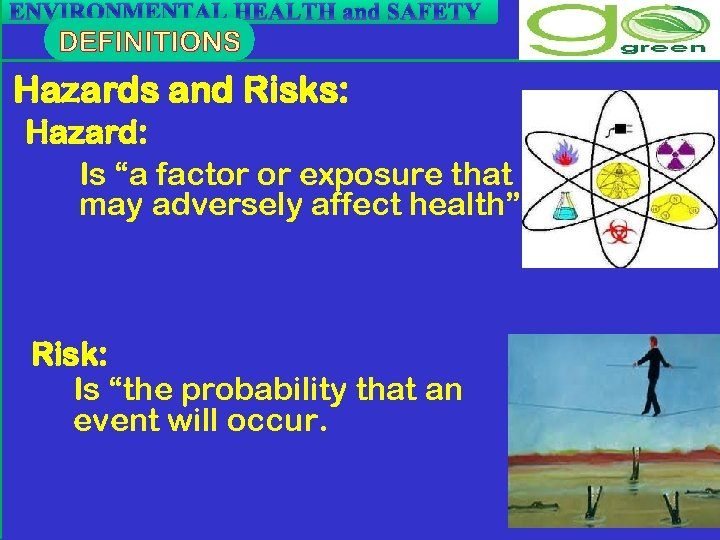 "ENVIRONMENTAL HEALTH and SAFETY Hazards and Risks: Hazard: Is ""a factor or exposure that"