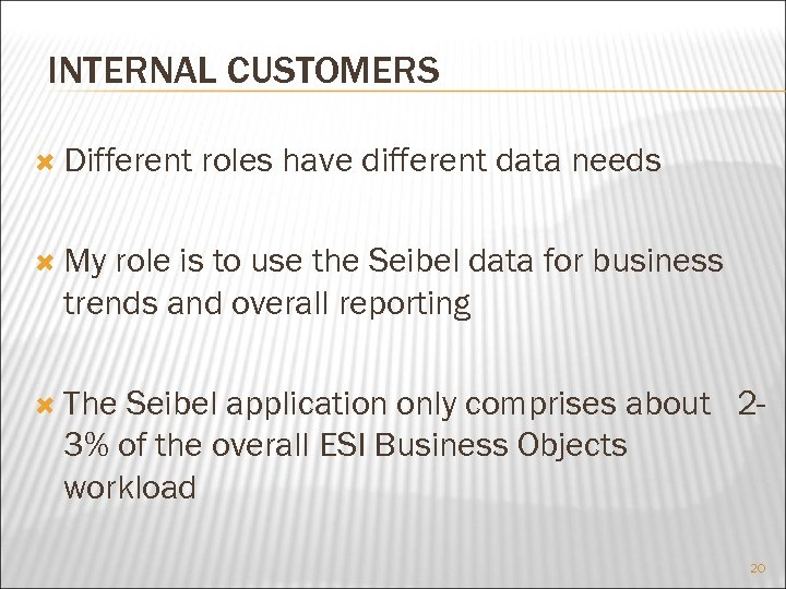 INTERNAL CUSTOMERS Different roles have different data needs My role is to use the