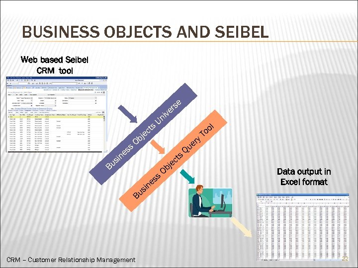 BUSINESS OBJECTS AND SEIBEL Web based Seibel CRM tool s er iv t ec