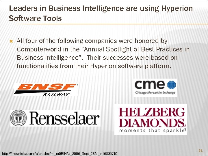 Leaders in Business Intelligence are using Hyperion Software Tools All four of the following