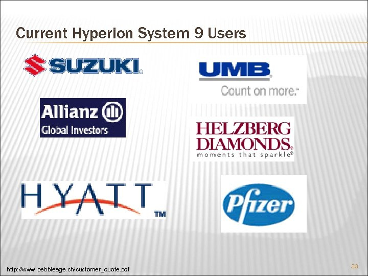 Current Hyperion System 9 Users http: //www. pebbleage. ch/customer_quote. pdf 33