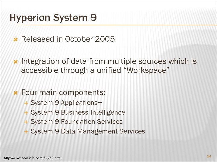 Hyperion System 9 Released in October 2005 Integration of data from multiple sources which