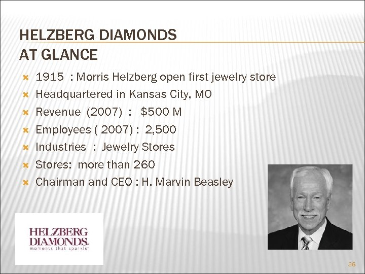 HELZBERG DIAMONDS AT GLANCE 1915 : Morris Helzberg open first jewelry store Headquartered in