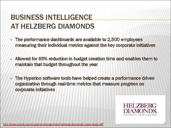 BUSINESS INTELLIGENCE AT HELZBERG DIAMONDS The performance dashboards are available to 2, 500 employees