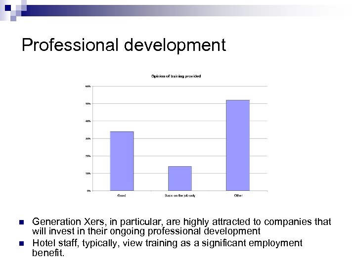 Professional development n n Generation Xers, in particular, are highly attracted to companies that