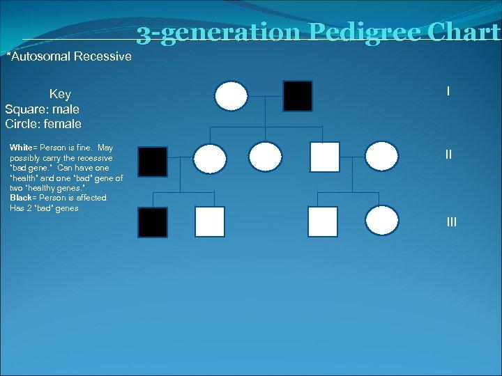 3 -generation Pedigree Chart *Autosomal Recessive Key Square: male Circle: female White= Person is