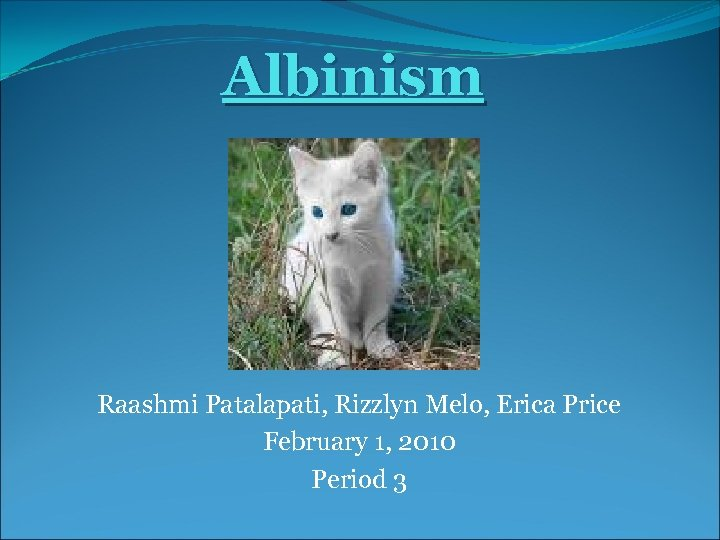 Albinism Raashmi Patalapati, Rizzlyn Melo, Erica Price February 1, 2010 Period 3