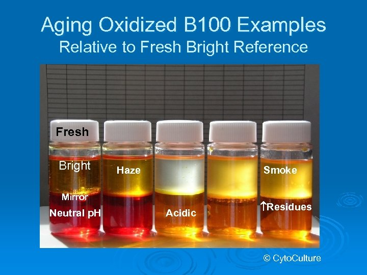 Aging Oxidized B 100 Examples Relative to Fresh Bright Reference Fresh Bright Haze Smoke